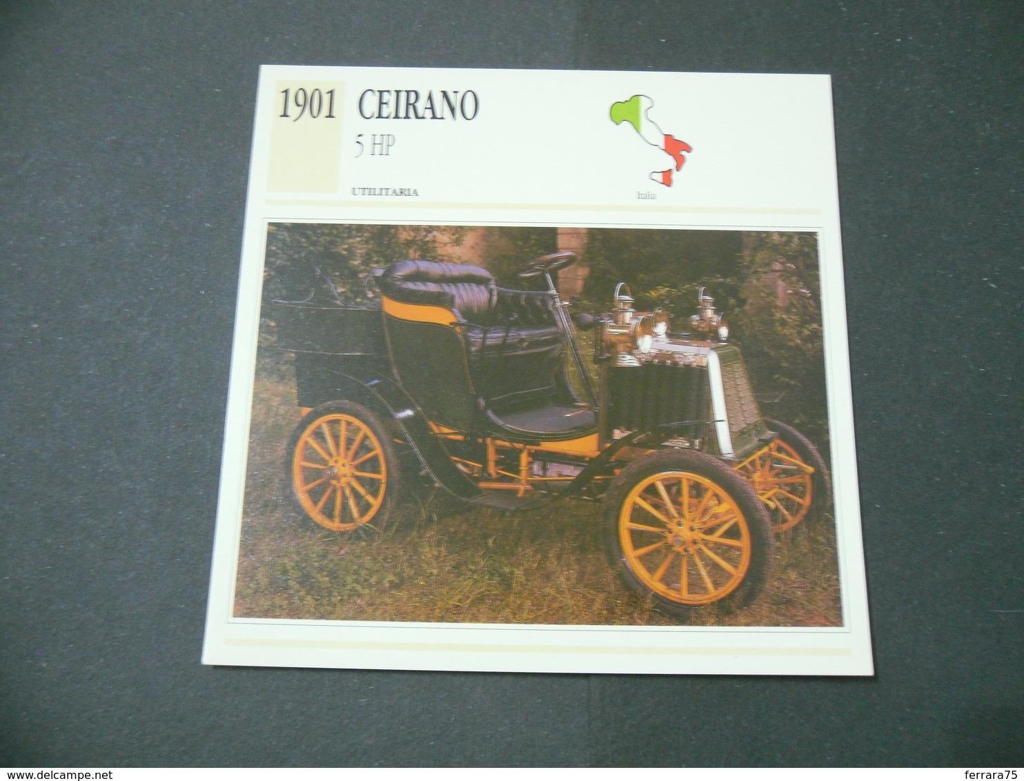 CARTOLINA CARD SCHEDA TECNICA  AUTO  CARS  CEIRANO 5 HP - Altri