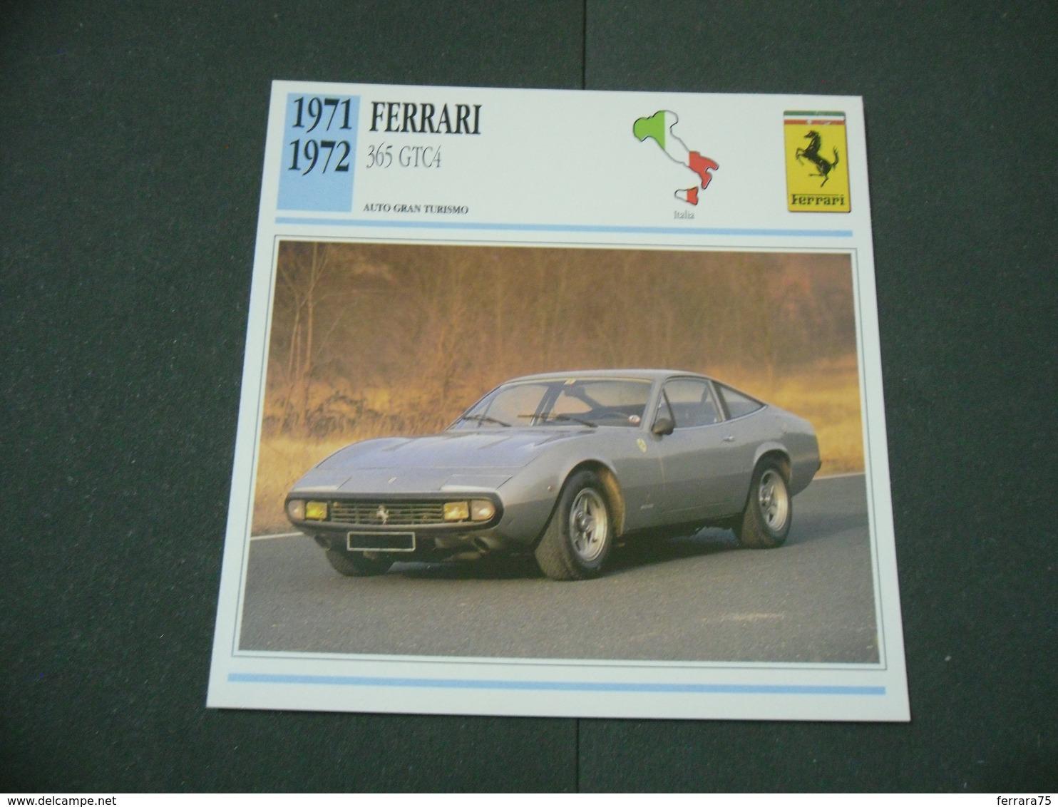 CARTOLINA CARD SCHEDA TECNICA  AUTO  CARS FERRARI 365 GTC4 - Altre Collezioni