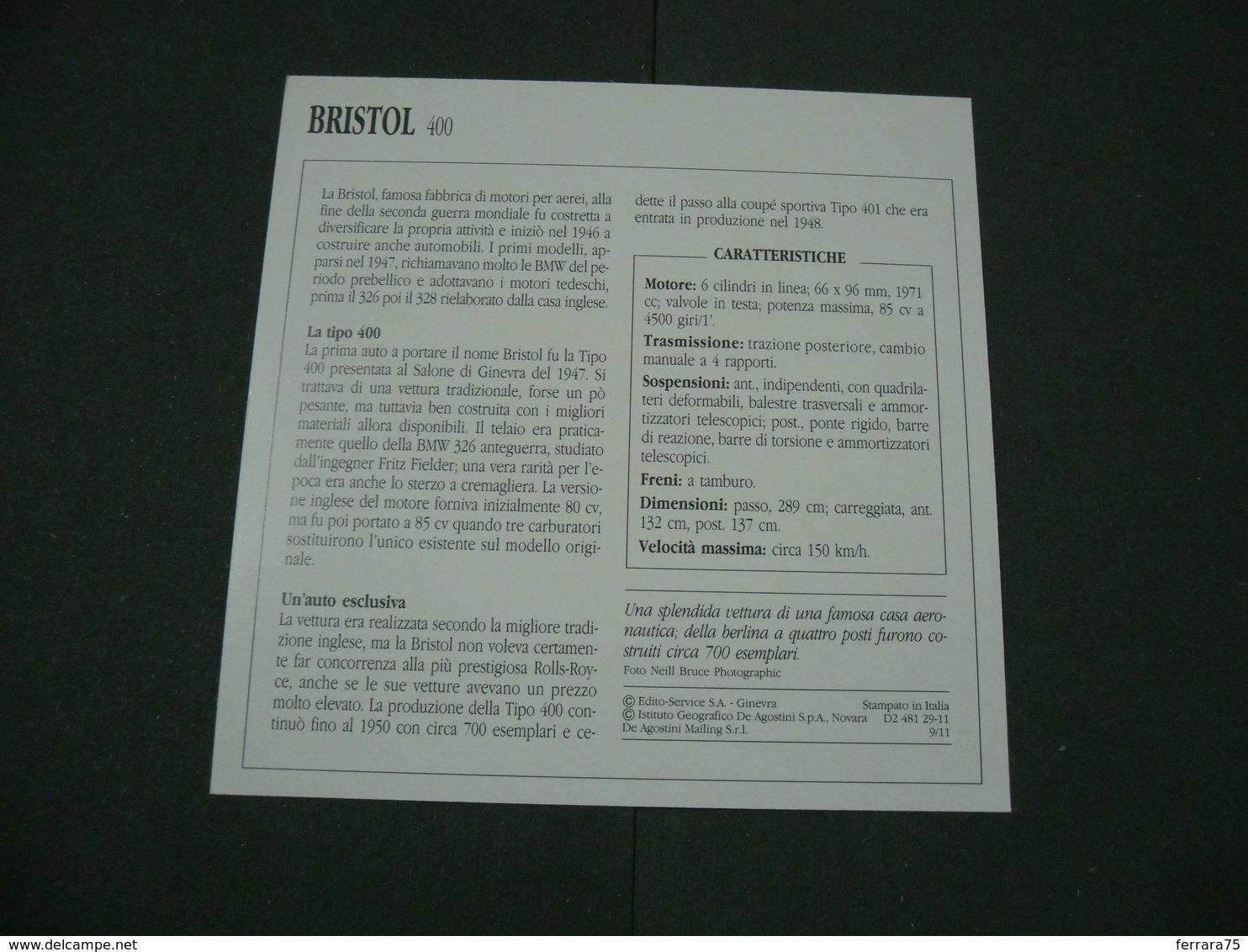 CARTOLINA CARD SCHEDA TECNICA  AUTO  CARS   BRISTOL 400 - Altre Collezioni