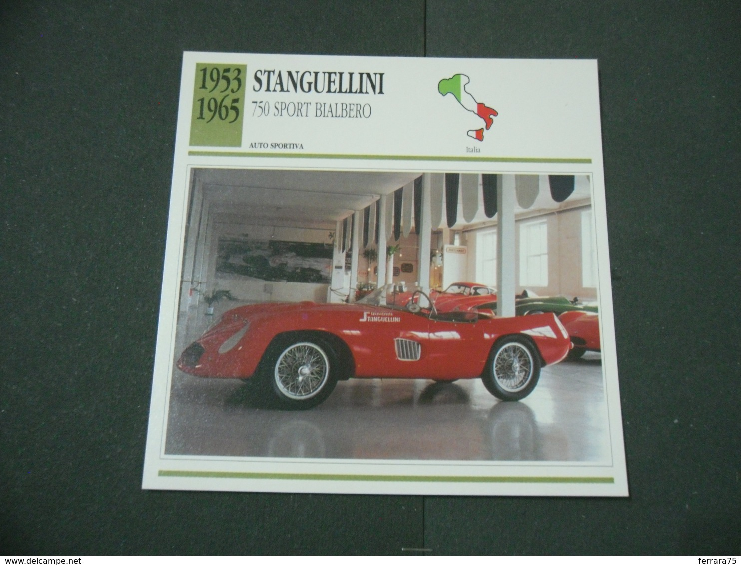 CARTOLINA CARD SCHEDA TECNICA  AUTO  CARS  STANGUELLINI 750 SPORT BIALBERO - Altri