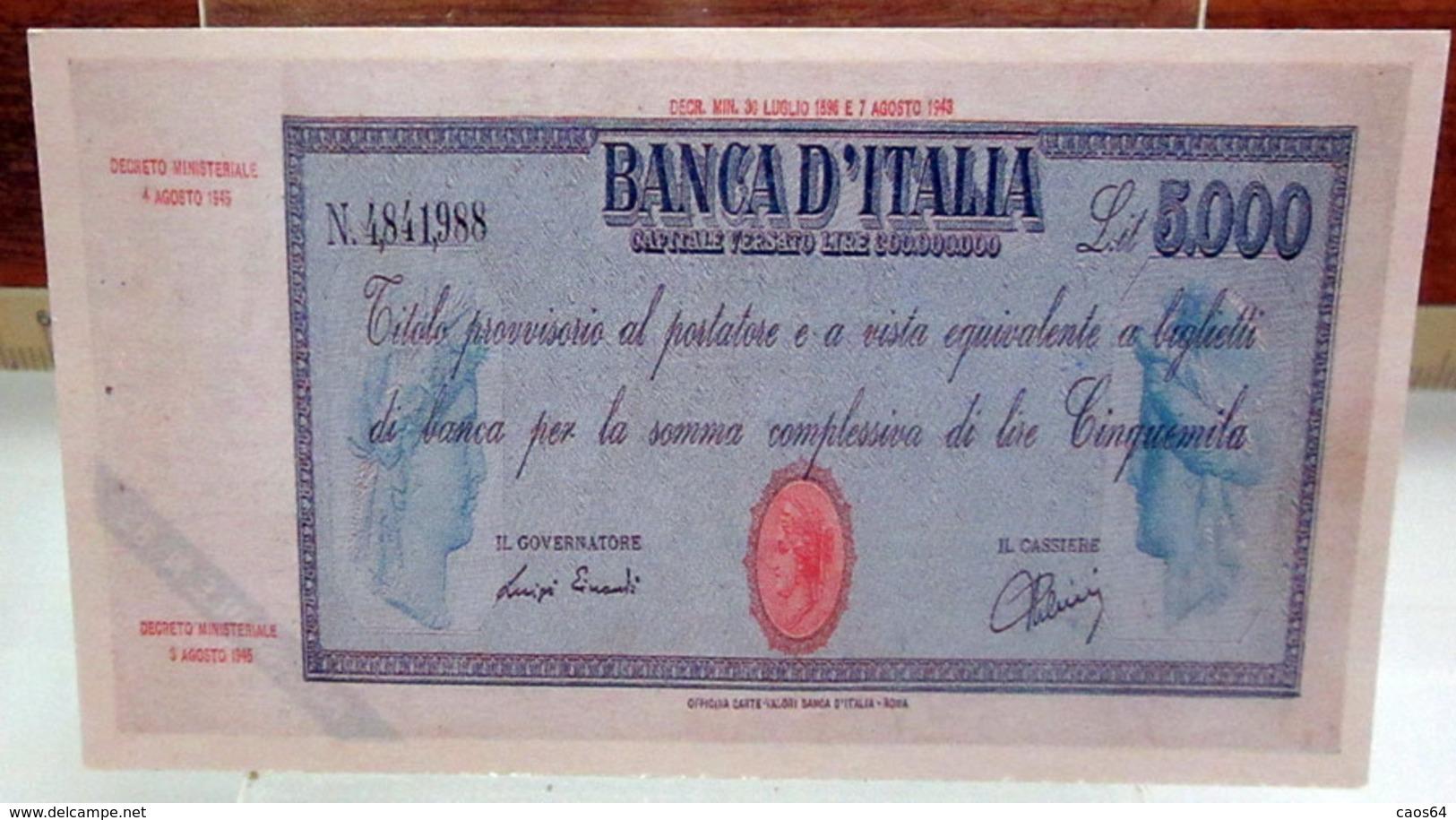 MINI BANCONOTA FAC-SIMILE LIRE CINQUEMILA 1943 - Specimen