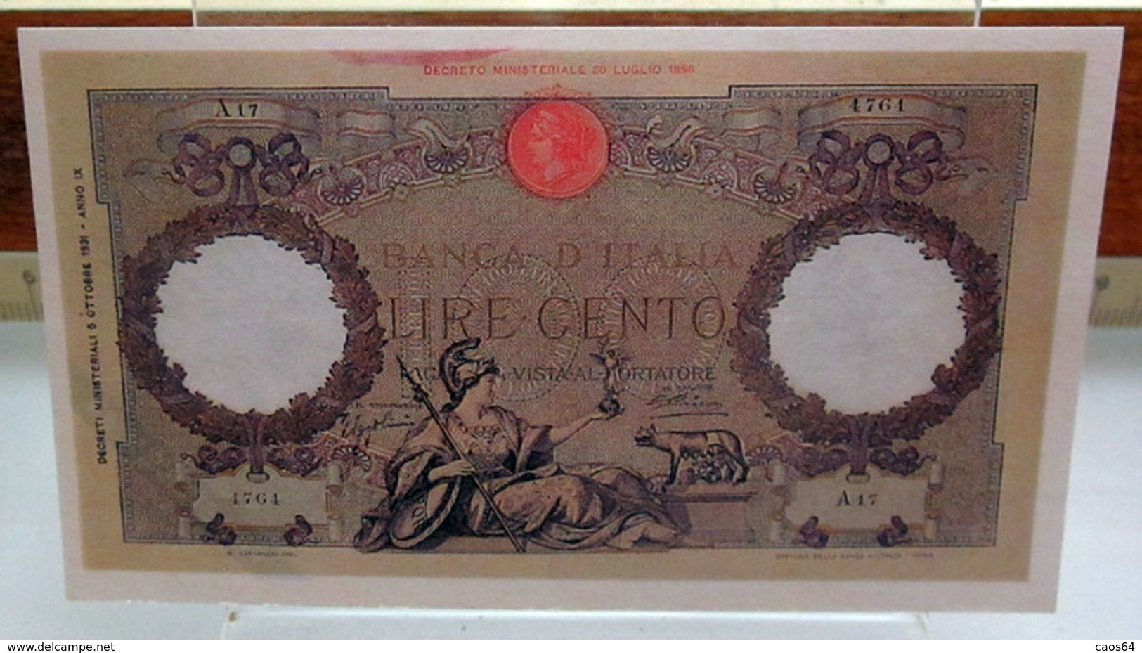 MINI BANCONOTA FAC-SIMILE LIRE CENTO 1931 - Specimen