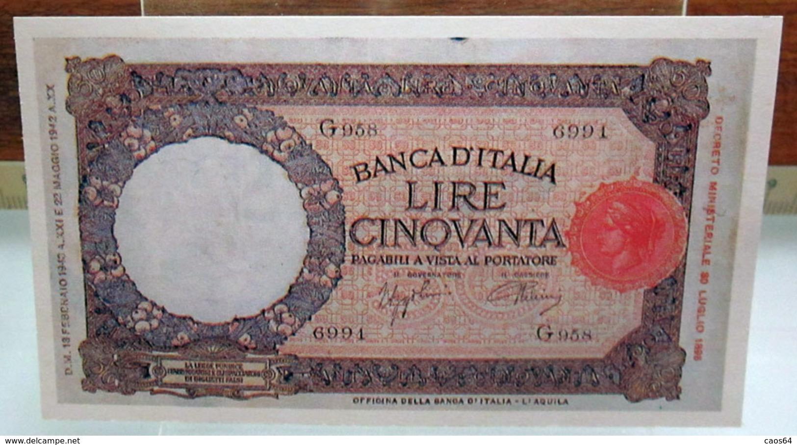 MINI BANCONOTA FAC-SIMILE LIRE CINQUANTA 1942 - Specimen
