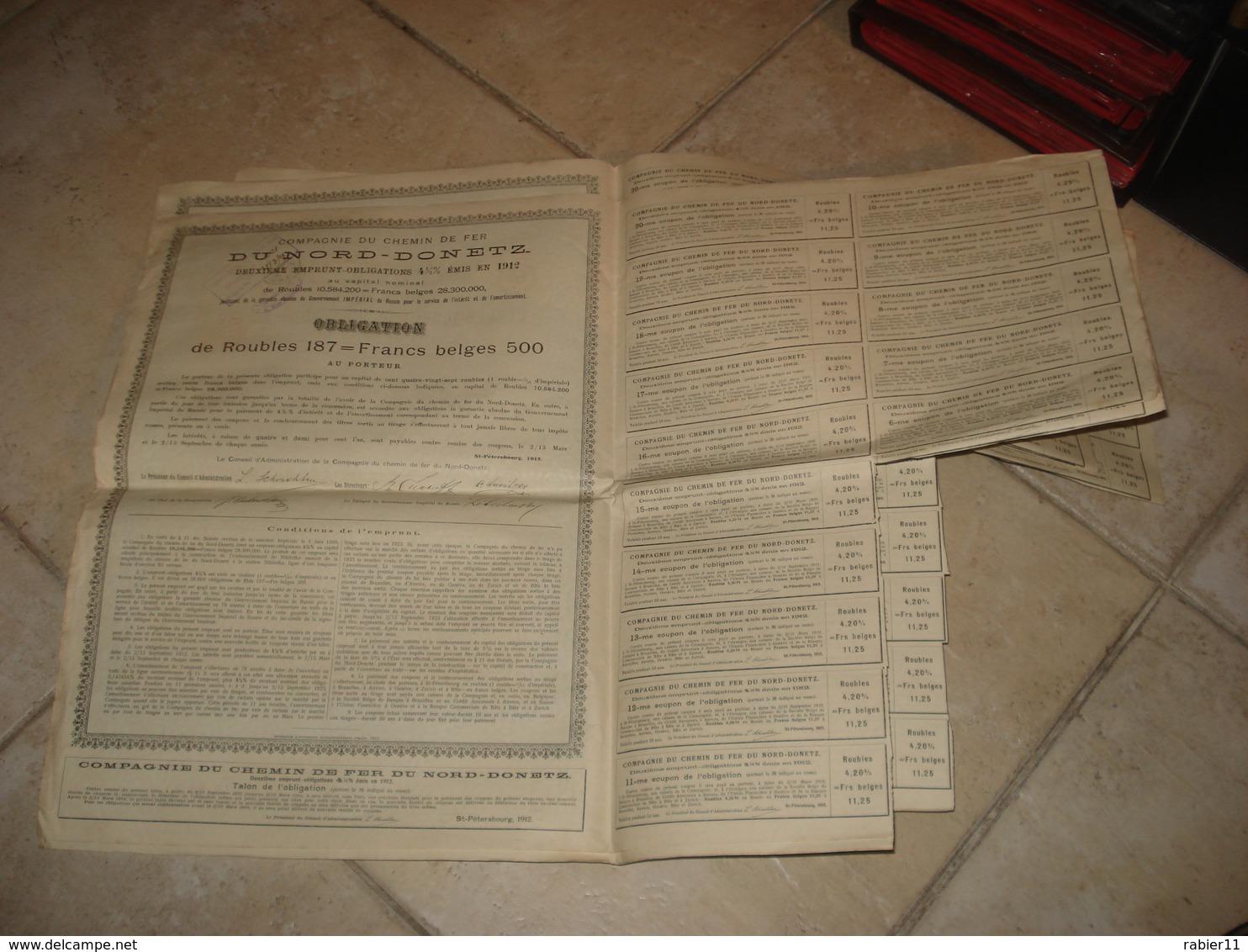 11 EMPRUNTS RUSSES CHEMIN DE FER NORD DONETZ  1912 - Russia