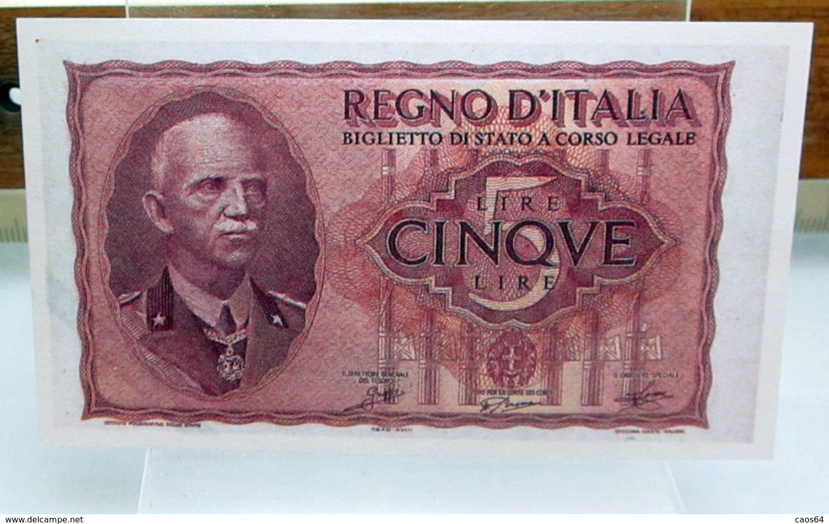 MINI BANCONOTA FAC-SIMILE CINQUE LIRE REGNO D'ITALIA - Specimen