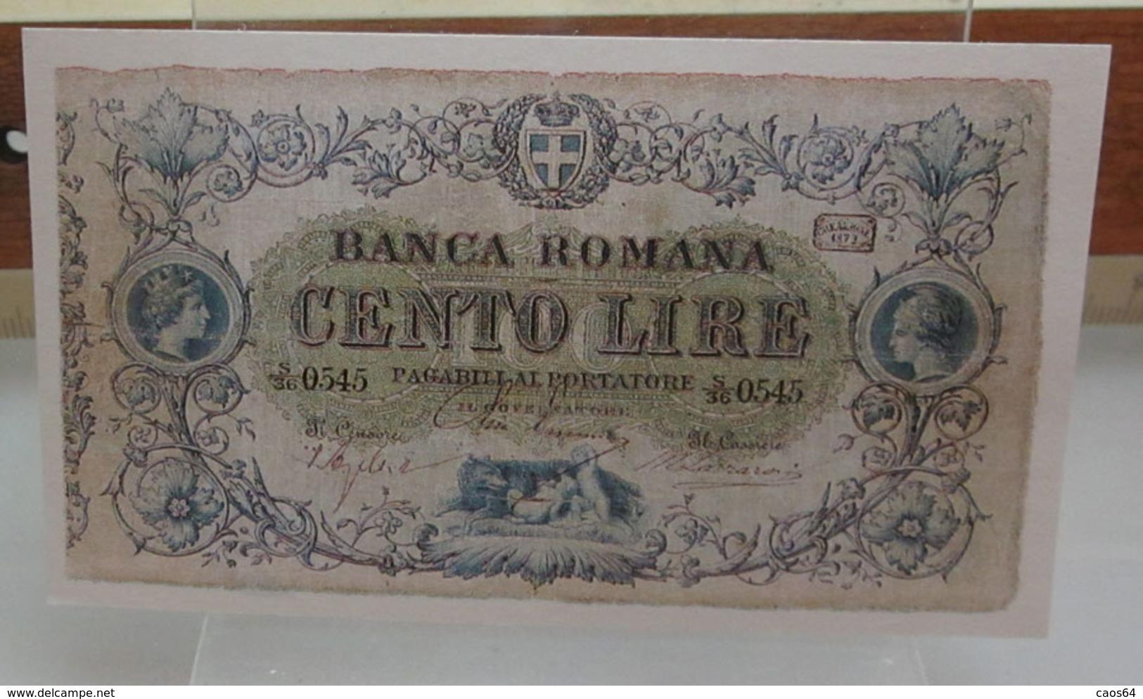 MINI BANCONOTA FAC-SIMILE LIRE CENTO BANCA ROMANA - Specimen
