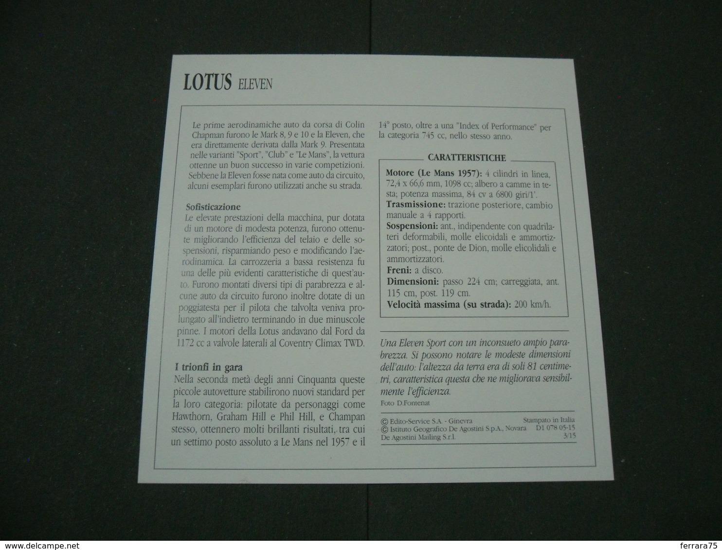 CARTOLINA CARD SCHEDA TECNICA  AUTO  CARS  LOTUS ELEVEN - Altre Collezioni