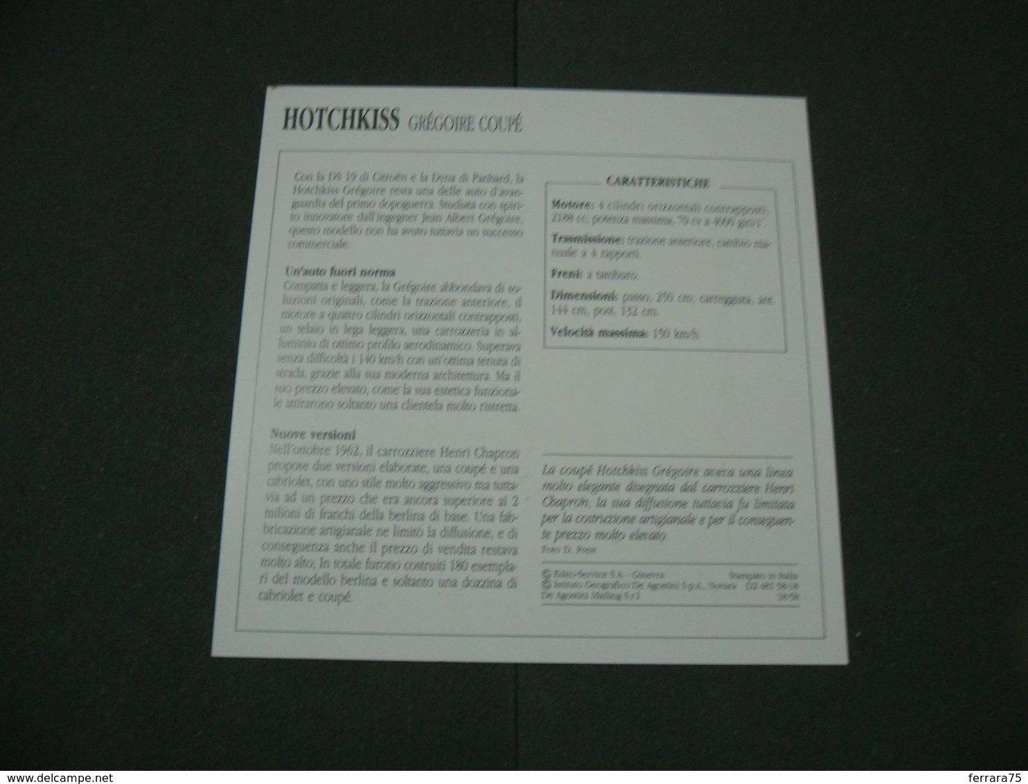 CARTOLINA CARD SCHEDA TECNICA  AUTO  CARS  HOTCHKISS GREGOIRE COUPè - Altre Collezioni