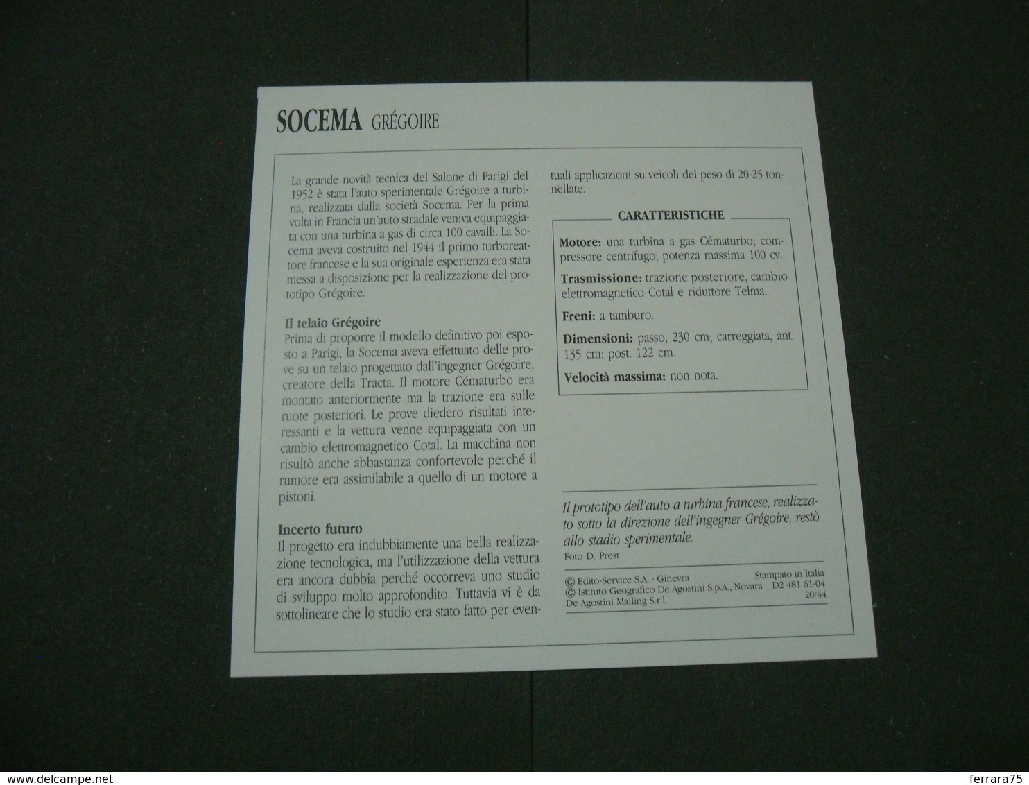 CARTOLINA CARD SCHEDA TECNICA  AUTO  CARS  SOCEMA  GREGOIRE - Altre Collezioni