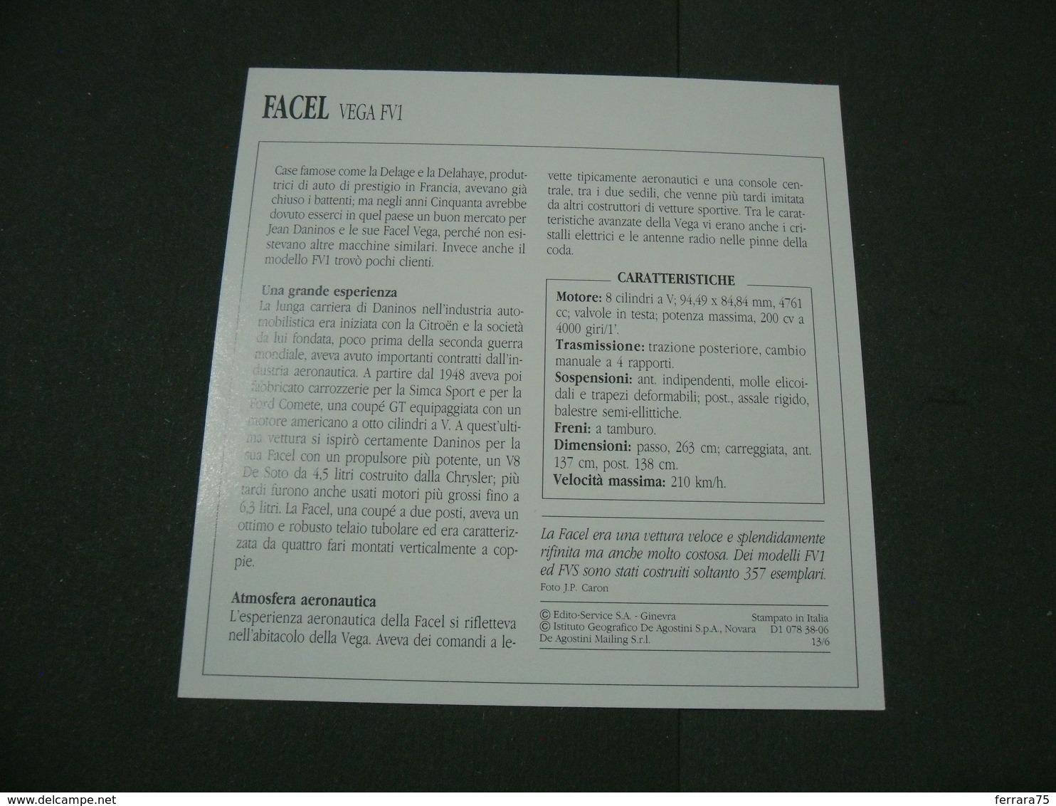 CARTOLINA CARD SCHEDA TECNICA  AUTO  CARS  FACEL VEGA FV1 - Altre Collezioni
