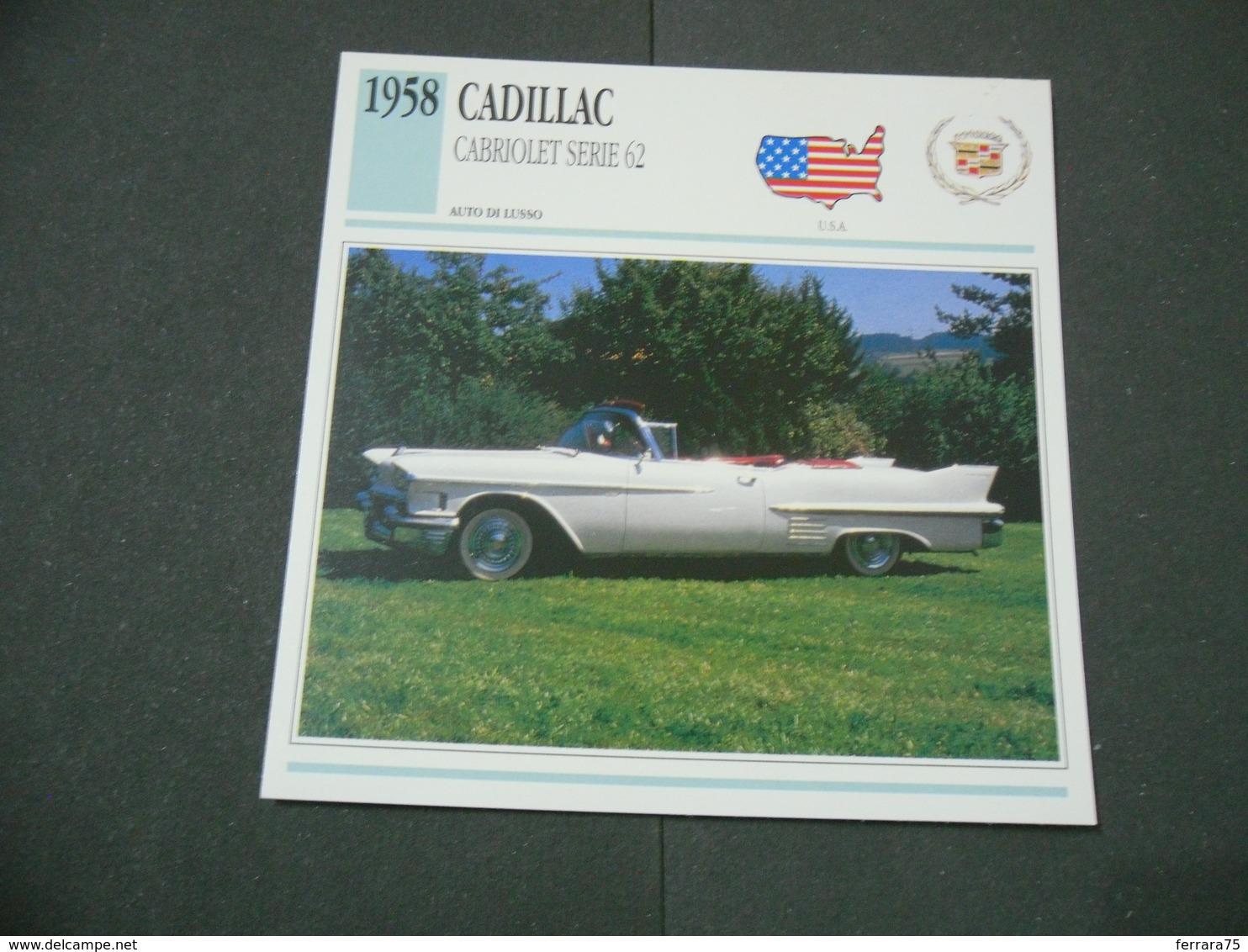 CARTOLINA CARD SCHEDA TECNICA  AUTO  CARS  CADILLAC CABRIOLET SERIE 62 - Altre Collezioni