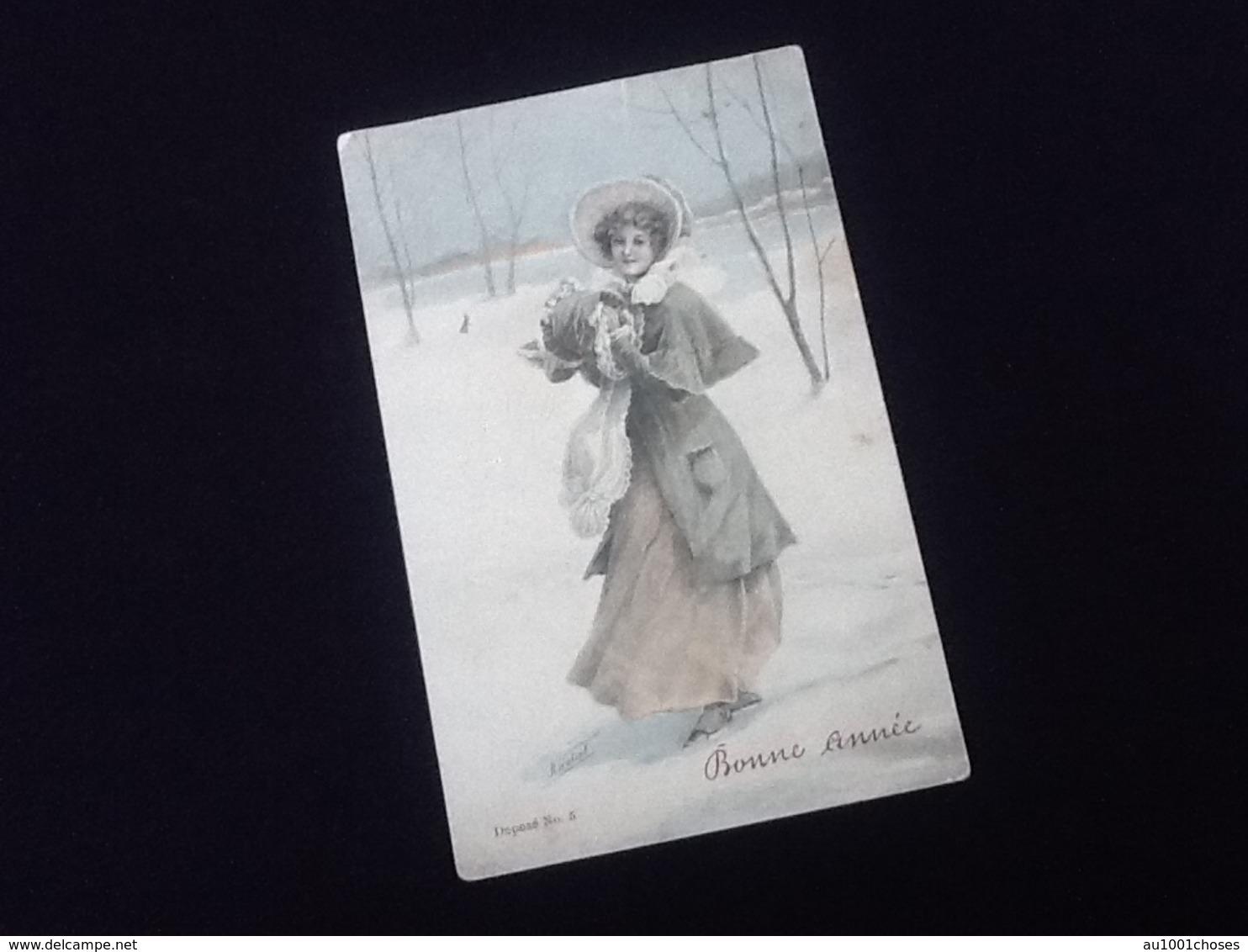 Carte Postale Ancienne Bonne Année Illustrateur H .  Hatzal Deposé N°5 - Nieuwjaar