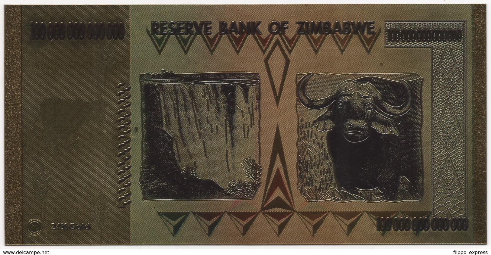 Zimbabwe, 100 Trillion Dollars, 24K Gold-Plated, Colored Banknote - Zimbabwe