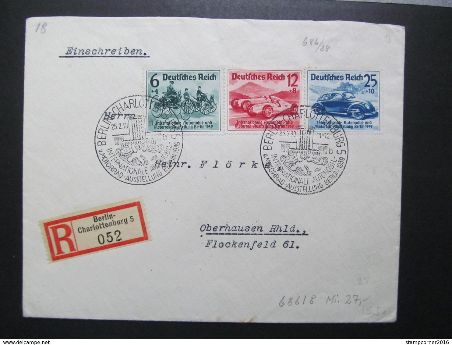 DR Nr. 686-688, 1939, R-Brief, Satzbrief, MiF, Sonderstempel Berlin Charlottenburg  *DEL2141* - Alemania