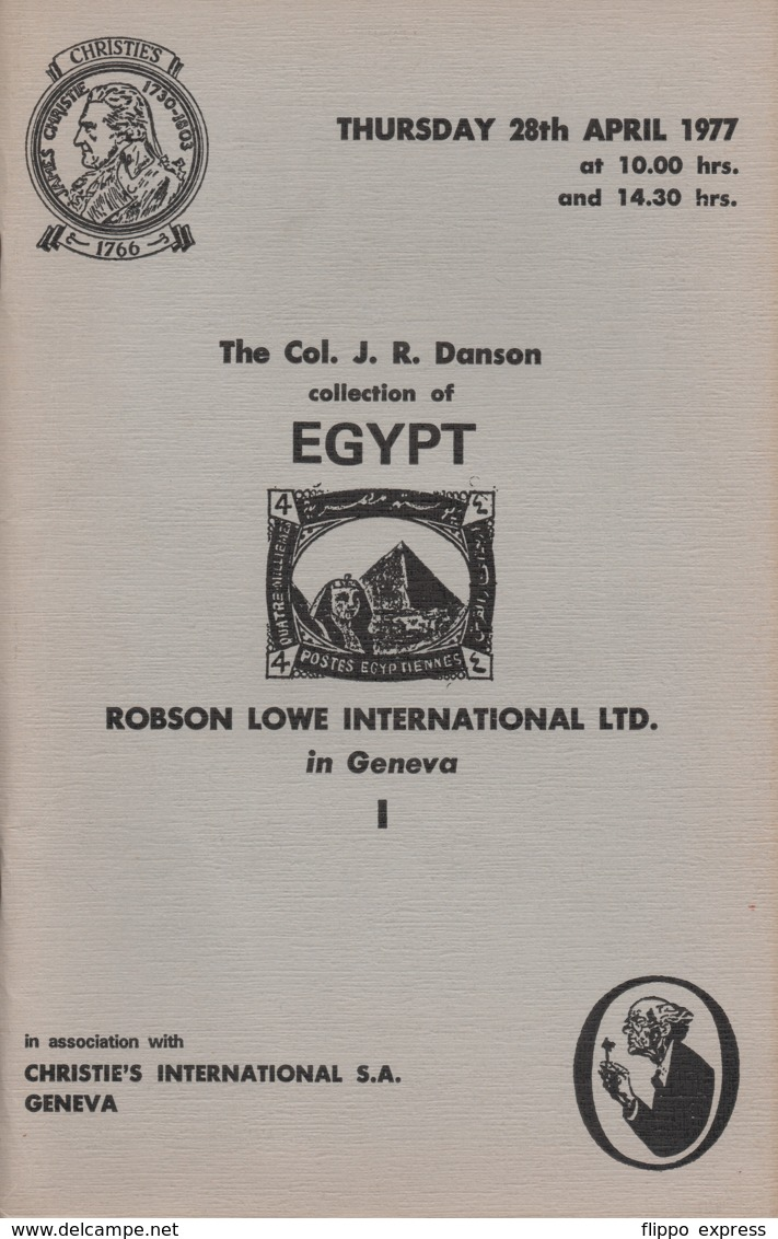 Egypt: Auction Catalogue Of The Col. J.R. Danson Collection Of Egypt, 1977 - Catalogi Van Veilinghuizen