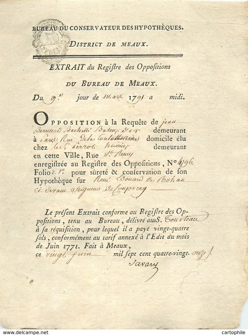 Acte De 1791 Opposition De Jean Bernard Bachelet, Batteur D'or, Contre Prince Louis René Edouard De Rohan Cardinal - Manuscripts