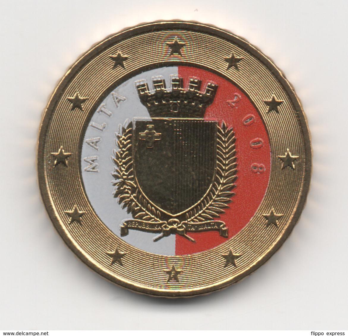 Malta, 2008, 50 Euro Cent, Color, 24K Gold-plated, UNC - Malte