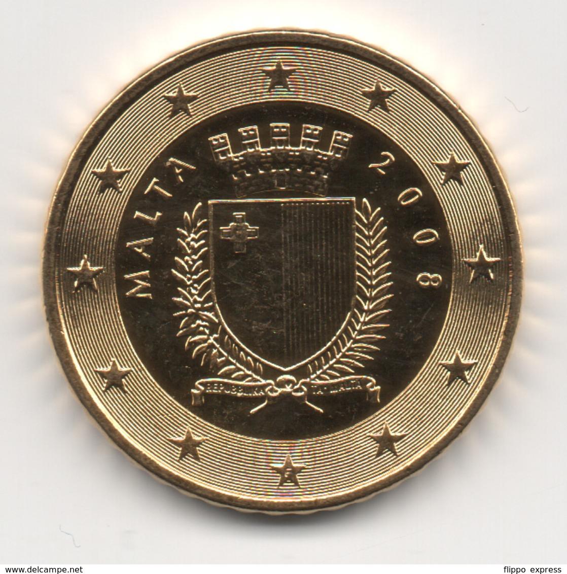 Malta, 2008, 50 Euro Cent, 24K Gold-Plated, UNC. - Malte