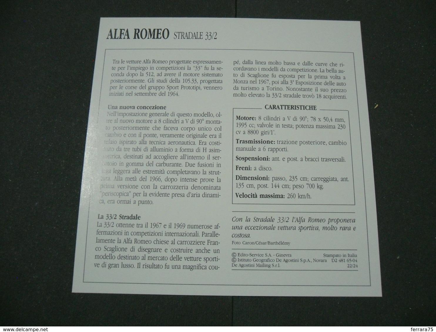 CARTOLINA CARD SCHEDA TECNICA  AUTO  CARS   ALFA ROMEO STRADALE 33-2 - Altre Collezioni