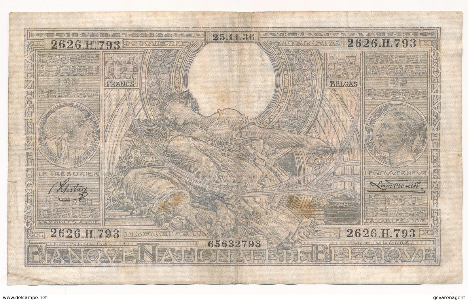 BELGIQUE 100 FRANCS-20 BELGAS 1936  - 2 SCANS - [ 2] 1831-... : Royaume De Belgique