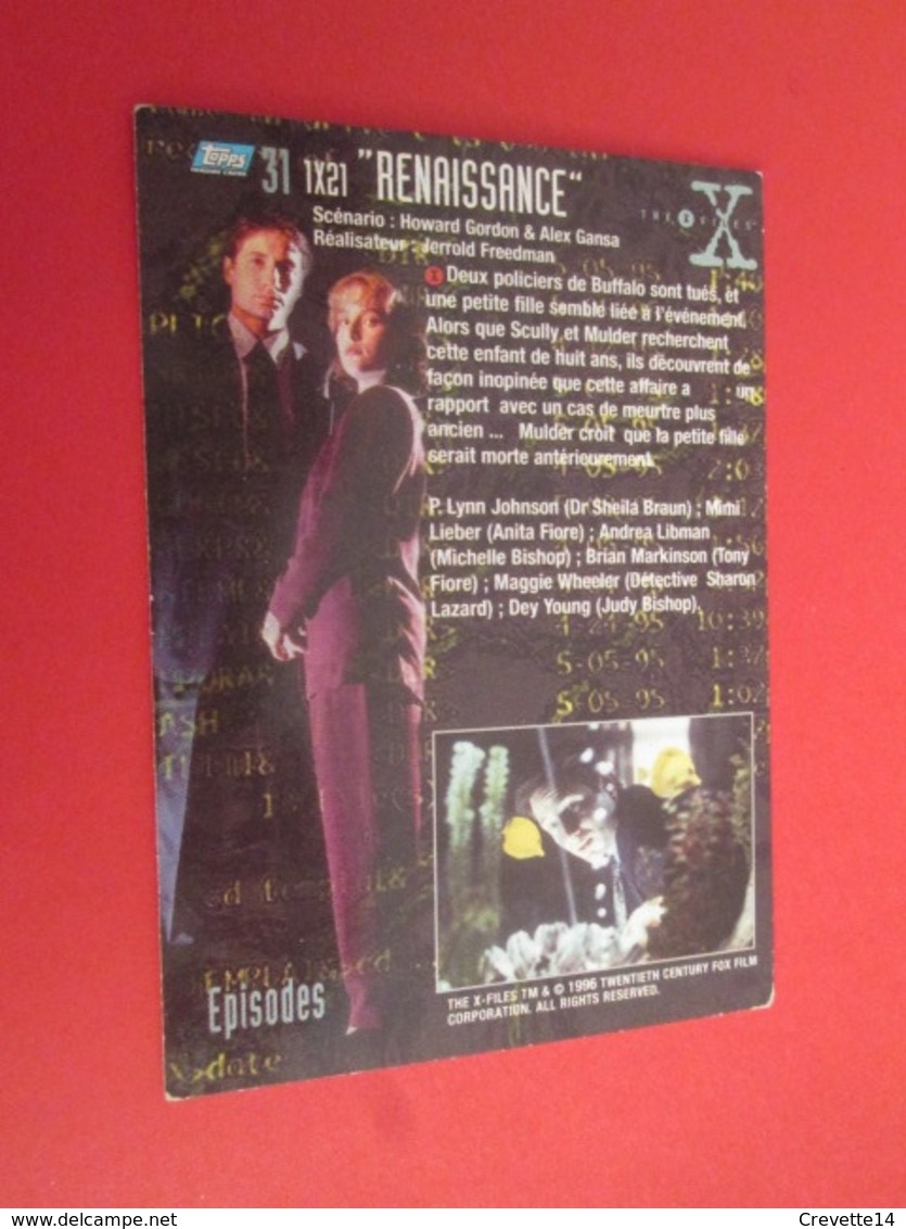 151-175 : TRADING CARD TOPPS SERIE TELE X-FILES MULDER SCULLY : N°31 RENAISSANCE - X-Files
