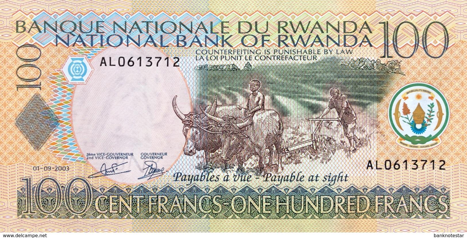Rwanda 100 Francs, P-29b (1.9.2003) - UNC - Ruanda