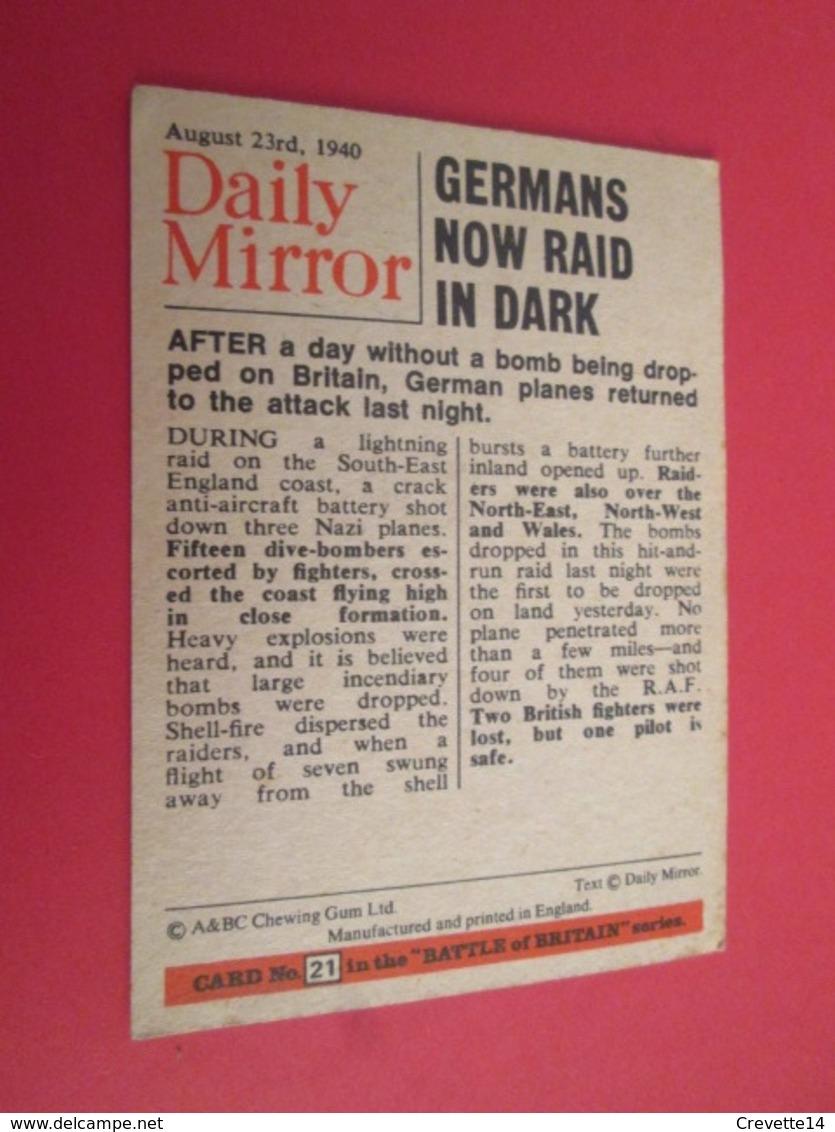 176-200 : N°21  TRADING CARD De 1964 !!! FILM BATTLE OF BRITAIN Publié Par CHEWING GUMS A&BC - X-Files