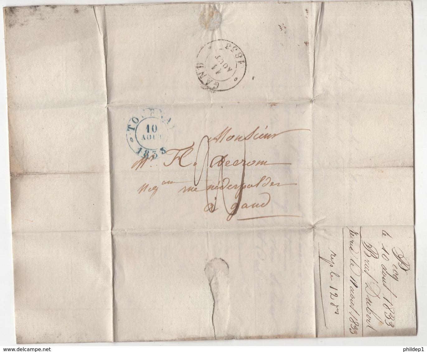 Précurseur Envoyé De Pecq Vers Gand En 1833. Je N'y Connais Pas Grand Chose - 1830-1849 (Belgique Indépendante)