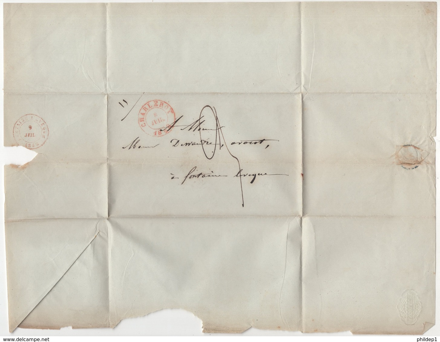Enveloppe Précurseur Envoyé De Charleroy Vers Fontaine Lévêque En 1848. Je N'y Connais Pas Grand Chose - 1830-1849 (Belgique Indépendante)