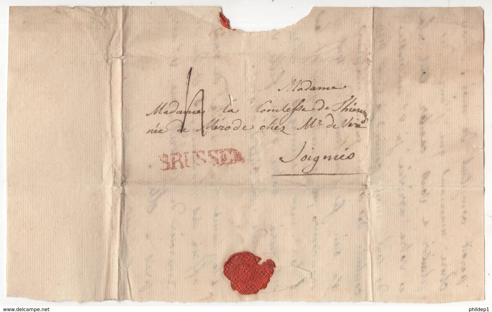 Précurseur Envoyé De Brussel Vers Soignies En 18??. Je N'y Connais Pas Grand Chose - 1830-1849 (Belgique Indépendante)