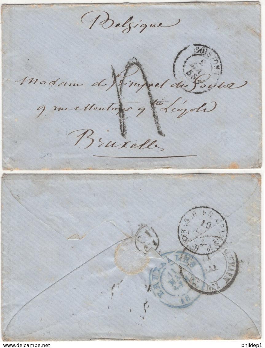 Précurseur Envoyé De Soisson (France) Vers Bruxelles En 1855. Je N'y Connais Pas Grand Chose - 1830-1849 (Belgique Indépendante)