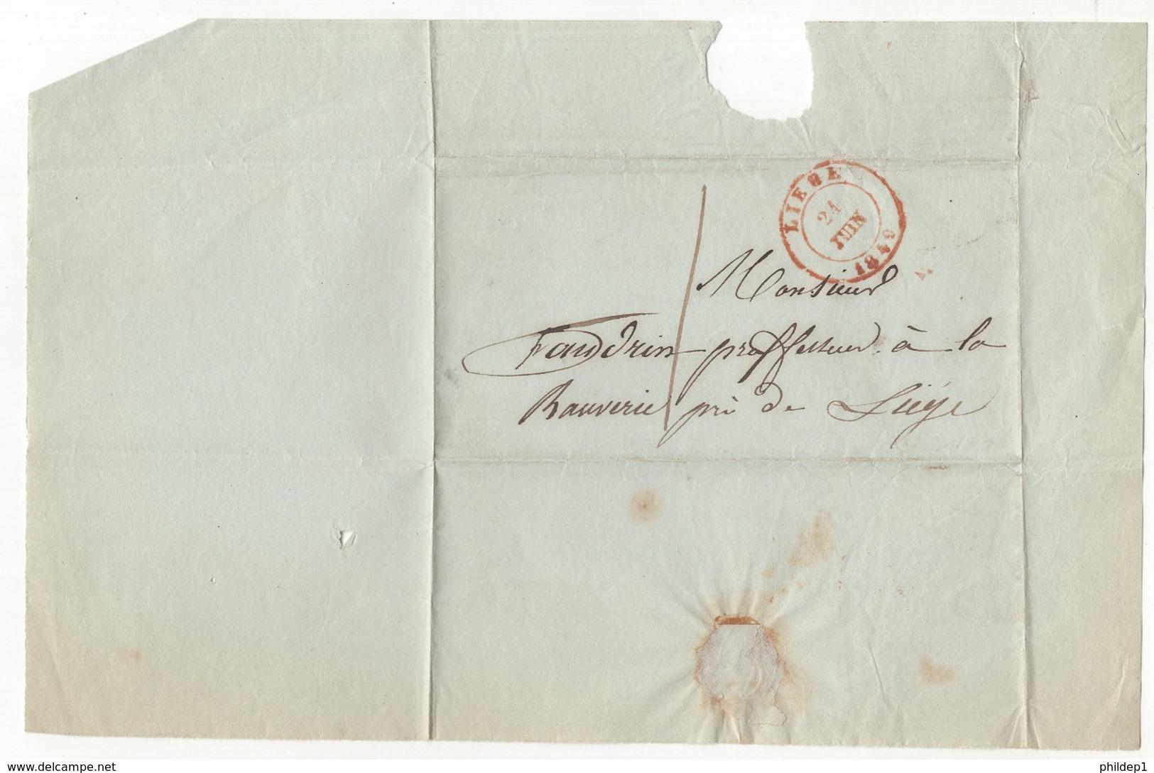 Précurseur Envoyé De ?? Vers Liège En 1849. Je N'y Connais Pas Grand Chose - 1830-1849 (Belgique Indépendante)
