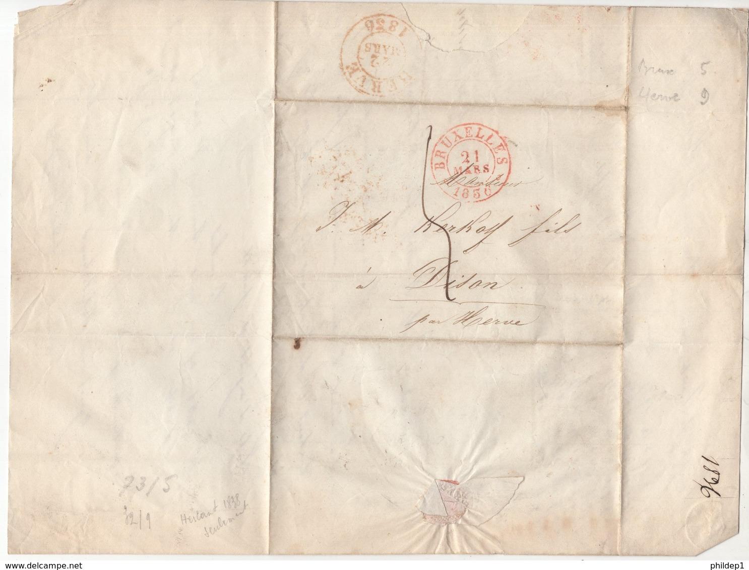 Précurseur Envoyé De Bruxelles Vers Dison En 1836. Je N'y Connais Pas Grand Chose - 1830-1849 (Belgique Indépendante)