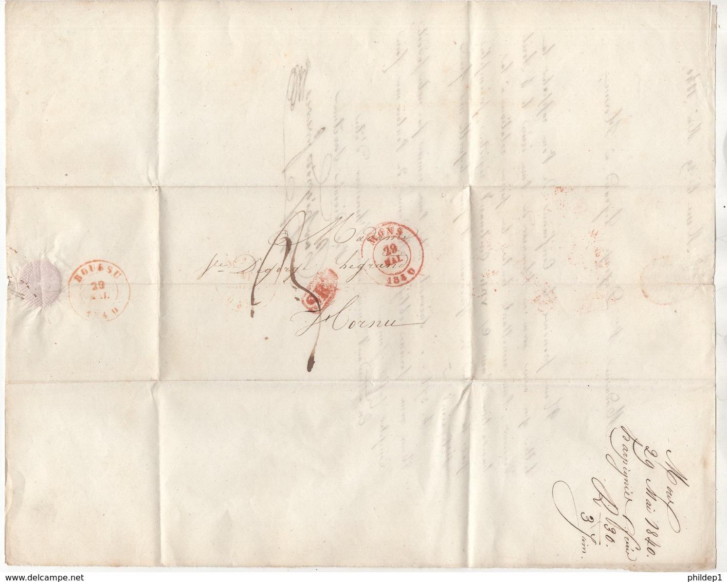 Précurseur Envoyé De Mons Vers Hornu En 1840. Je N'y Connais Pas Grand Chose - 1830-1849 (Belgique Indépendante)
