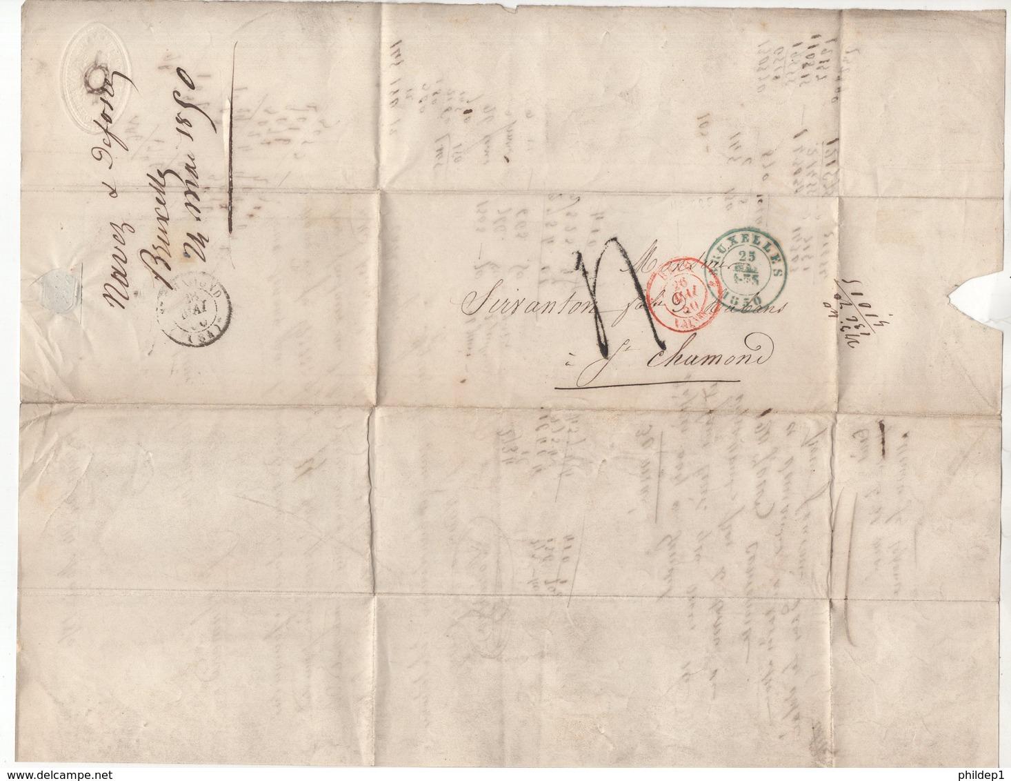 Précurseur Envoyé De Bruxelles Vers Saint - Chamond (France Dans La Loire) En 1850. Je N'y Connais Pas Grand Chose - 1830-1849 (Belgique Indépendante)