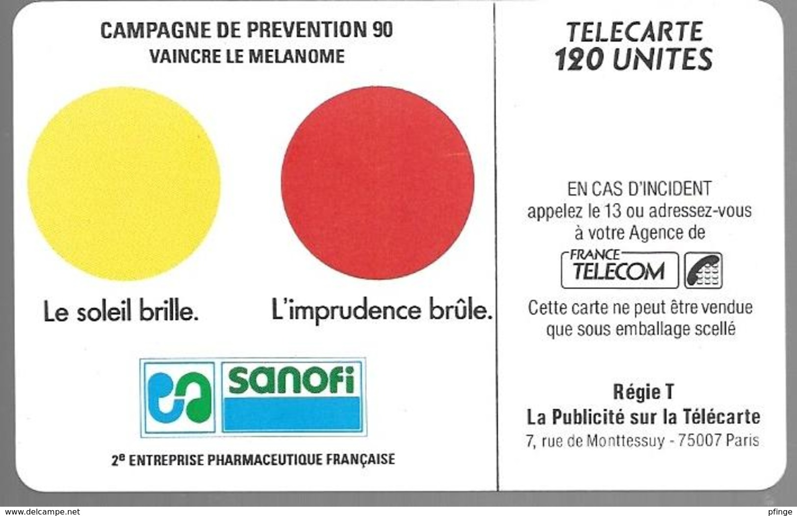 Telecarte 50 - Sanofi - Vaincre Le Mélanome - Advertising