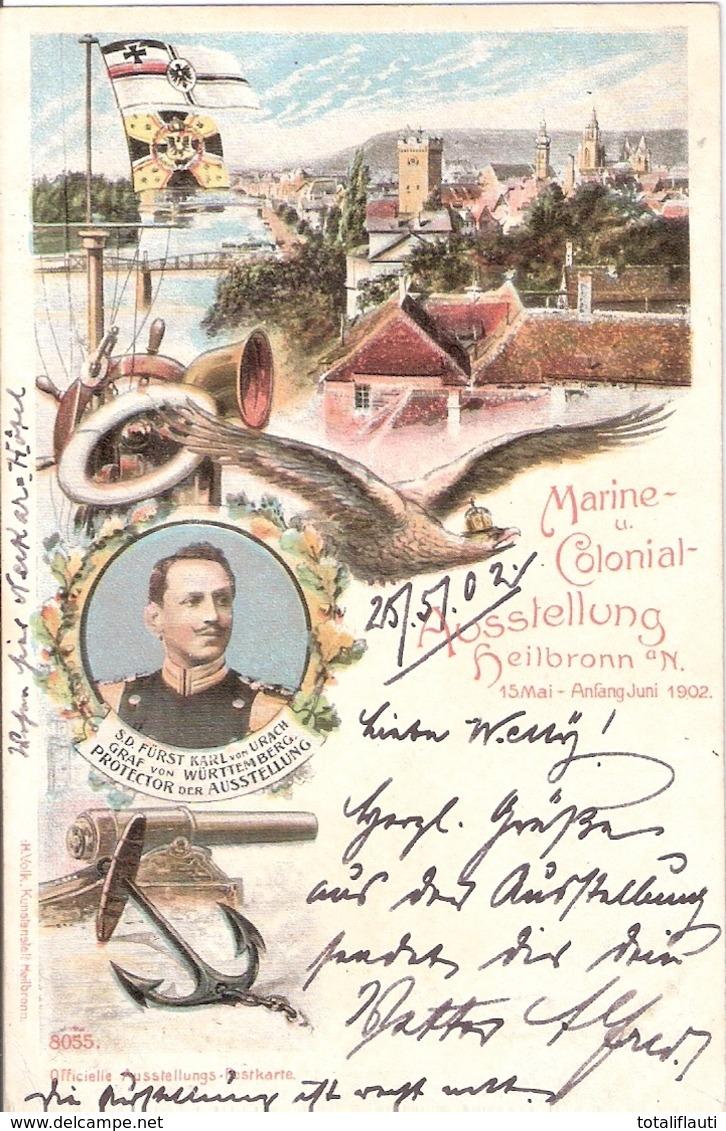 HEILBRONN Baden Württemberg Marine Und Colonial Ausstellung Col Litho 26.5.1902 Gelaufen - Ausrüstung