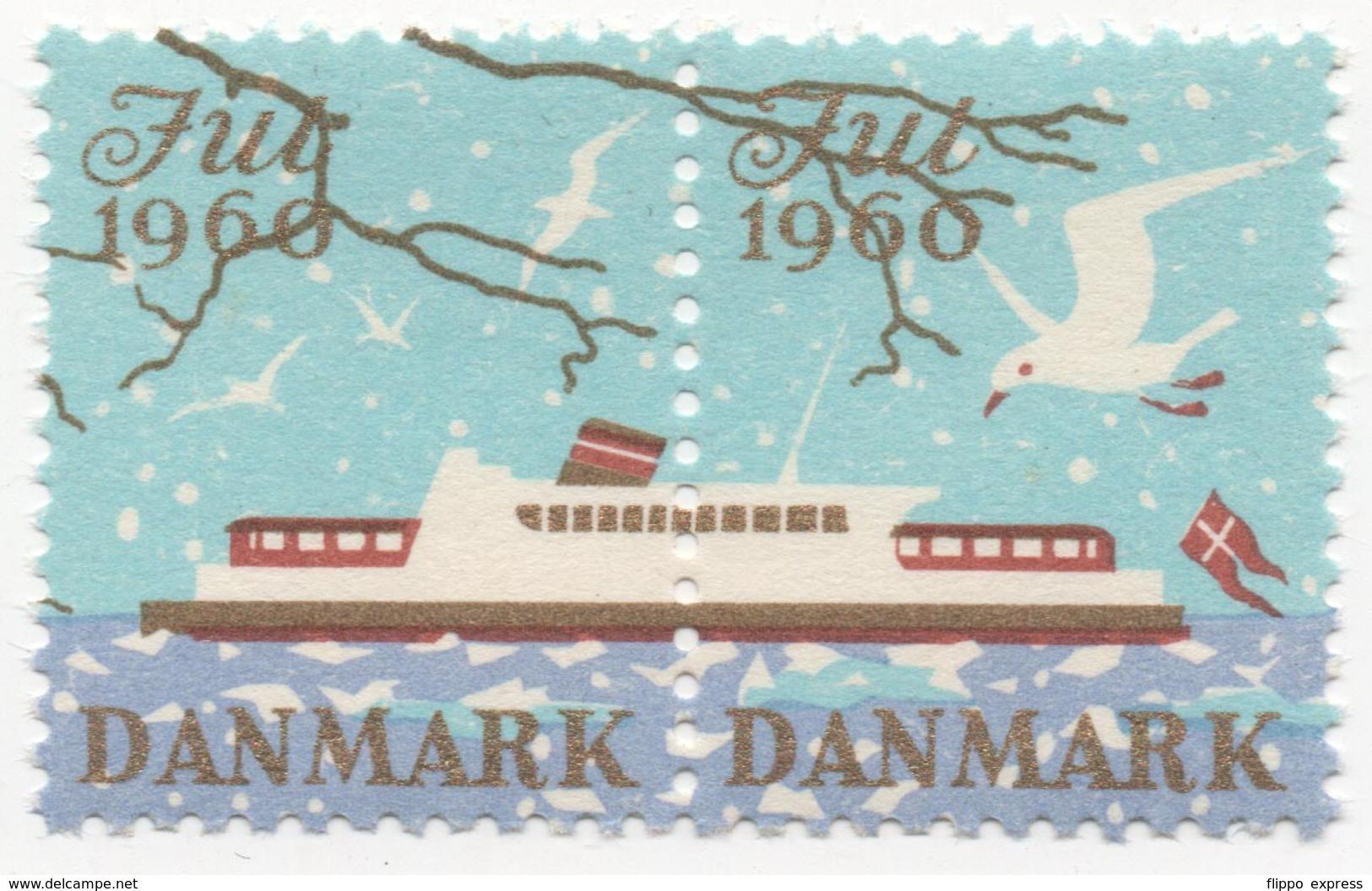 Denmark 1960, Hor. Pair, Julemaerke, Christmas Stamp, Cinderella, Used - Denmark