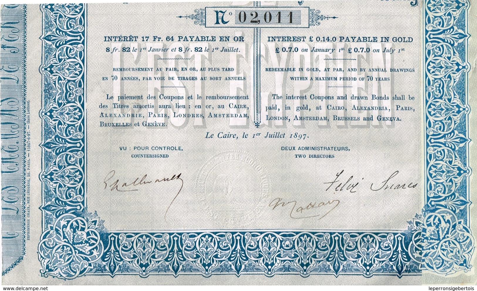 Obligation Ancienne - Compagnie Des Chemins De Fer Economiques De L'Est Egyptien - Titre De 1897 - - Chemin De Fer & Tramway