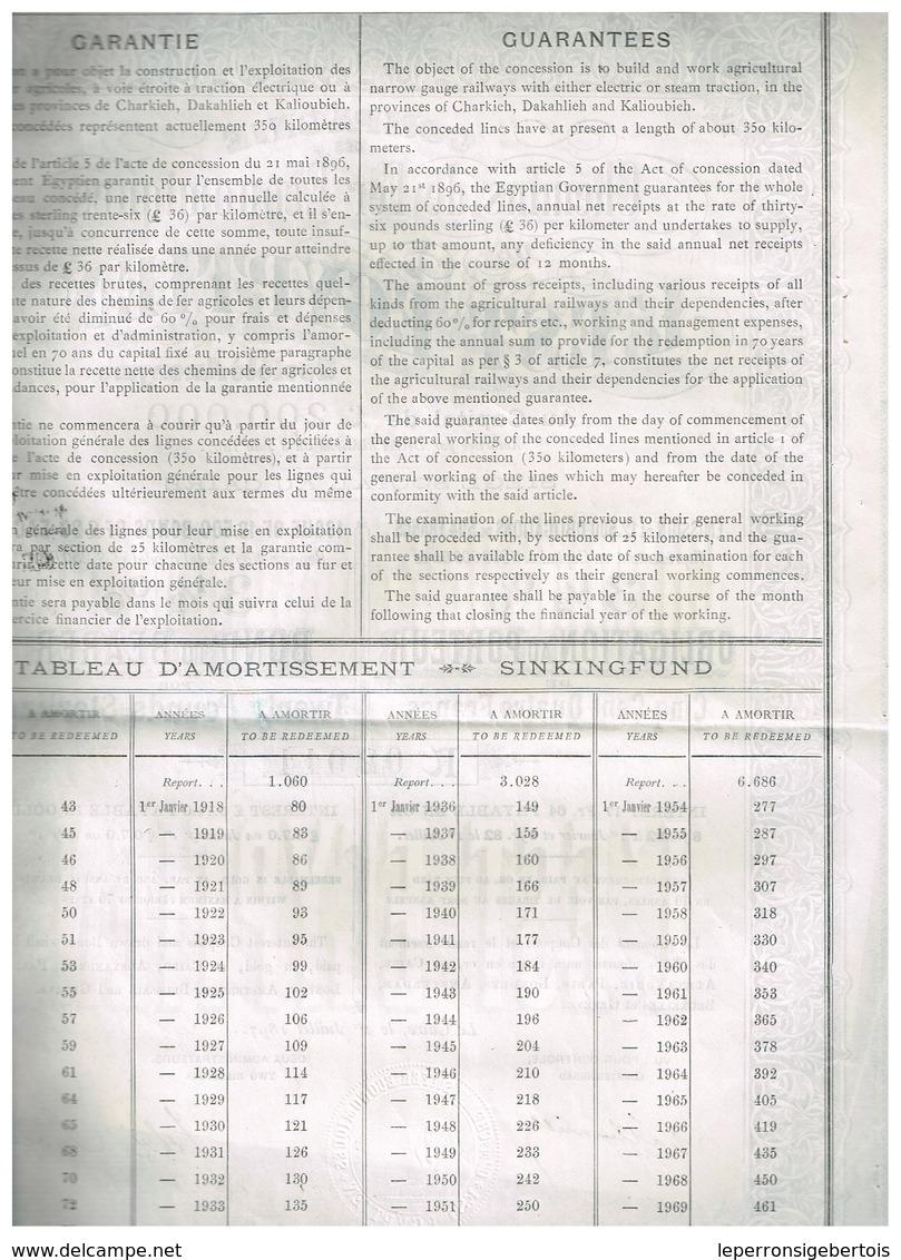 Obligation Ancienne - Compagnie Des Chemins De Fer Economiques De L'Est Egyptien - Titre De 1897 - - Bahnwesen & Tramways