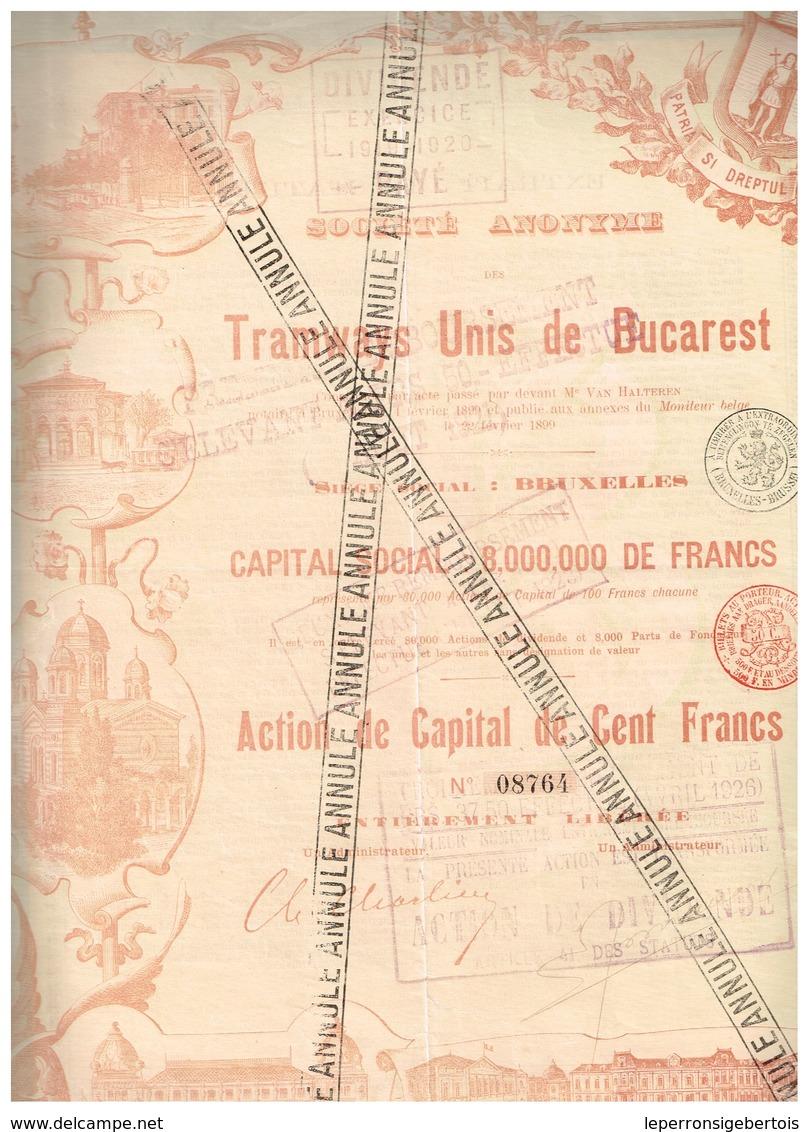 Action Ancienne - Société Anonyme Des Tramways Unis De Bucarest - Titre De 1899 - Déco - Chemin De Fer & Tramway