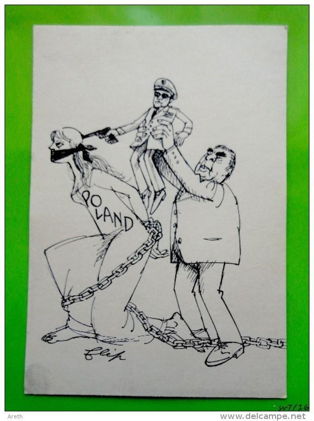 Satire Politique Signée FLIP -  Léonid Brejnev  Jaruzelski  Et La Pologne - Satiriques