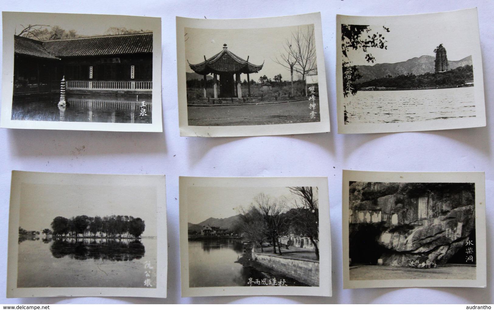 6 Petites Carte Photo Chine ? Pagode Lieu à Identifier - Cartes Postales