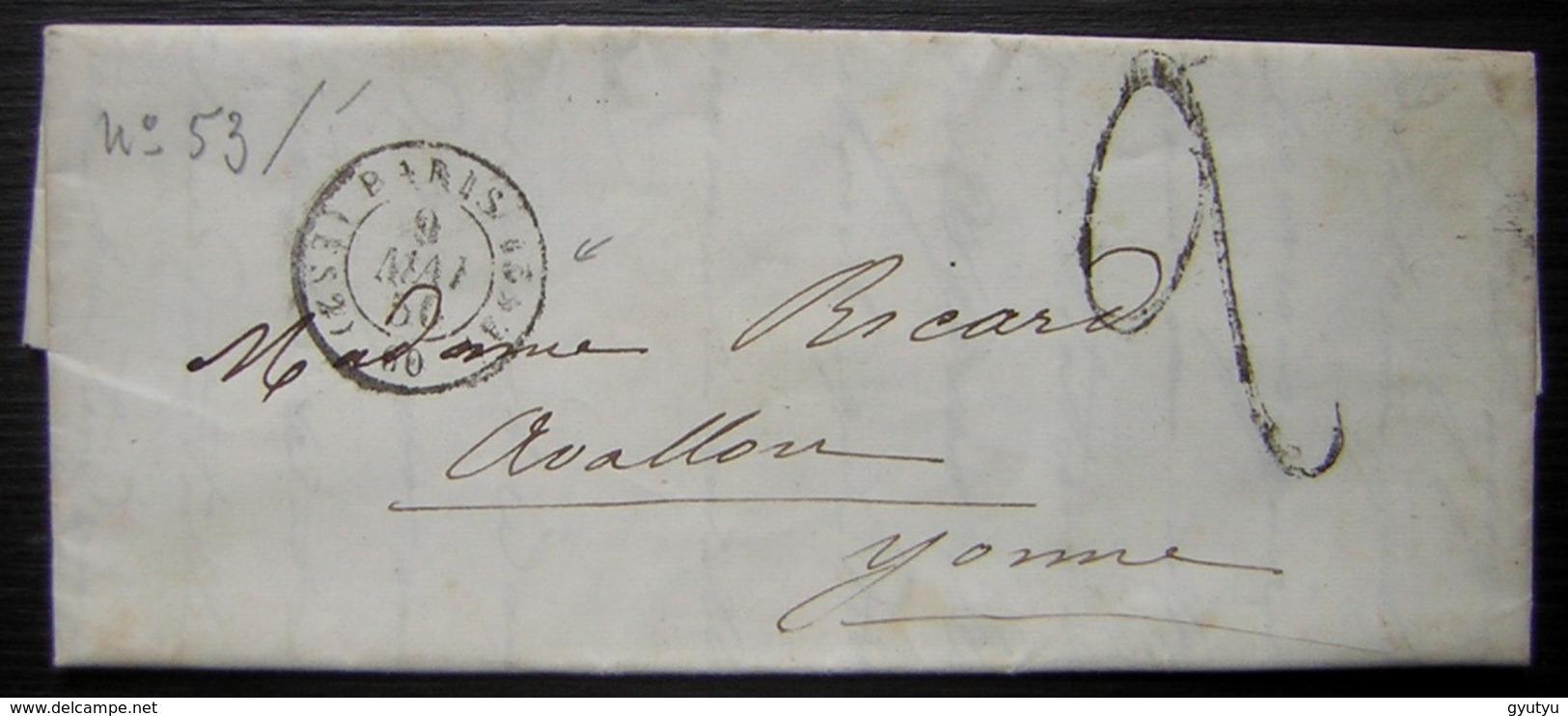 1850 Lettre De Paris Cachet ES2 Taxée (sans Timbre) Pour Avallon (Yonne) - Marcophilie (Lettres)