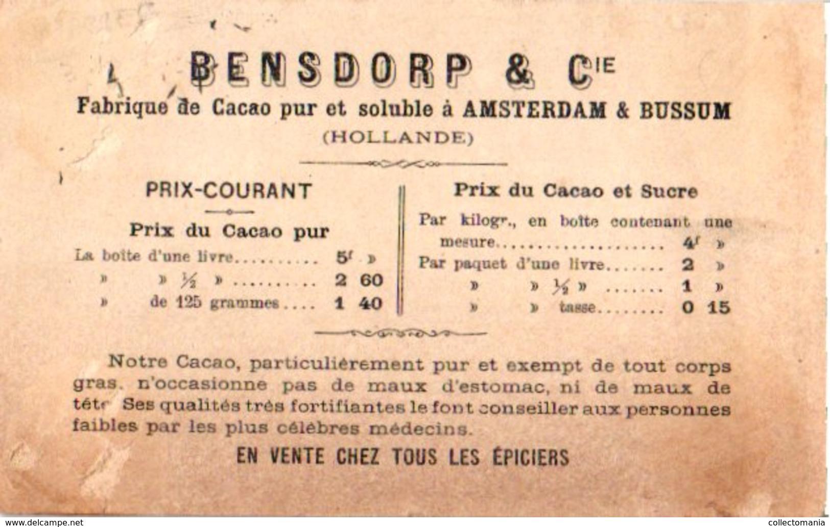 7 Chromo Litho PUB C1880 à 1890 BENSDORP Chocolate Chokolade, Gedrukt Voor Frankrijk France Apporx. 7X10,5cm - Other