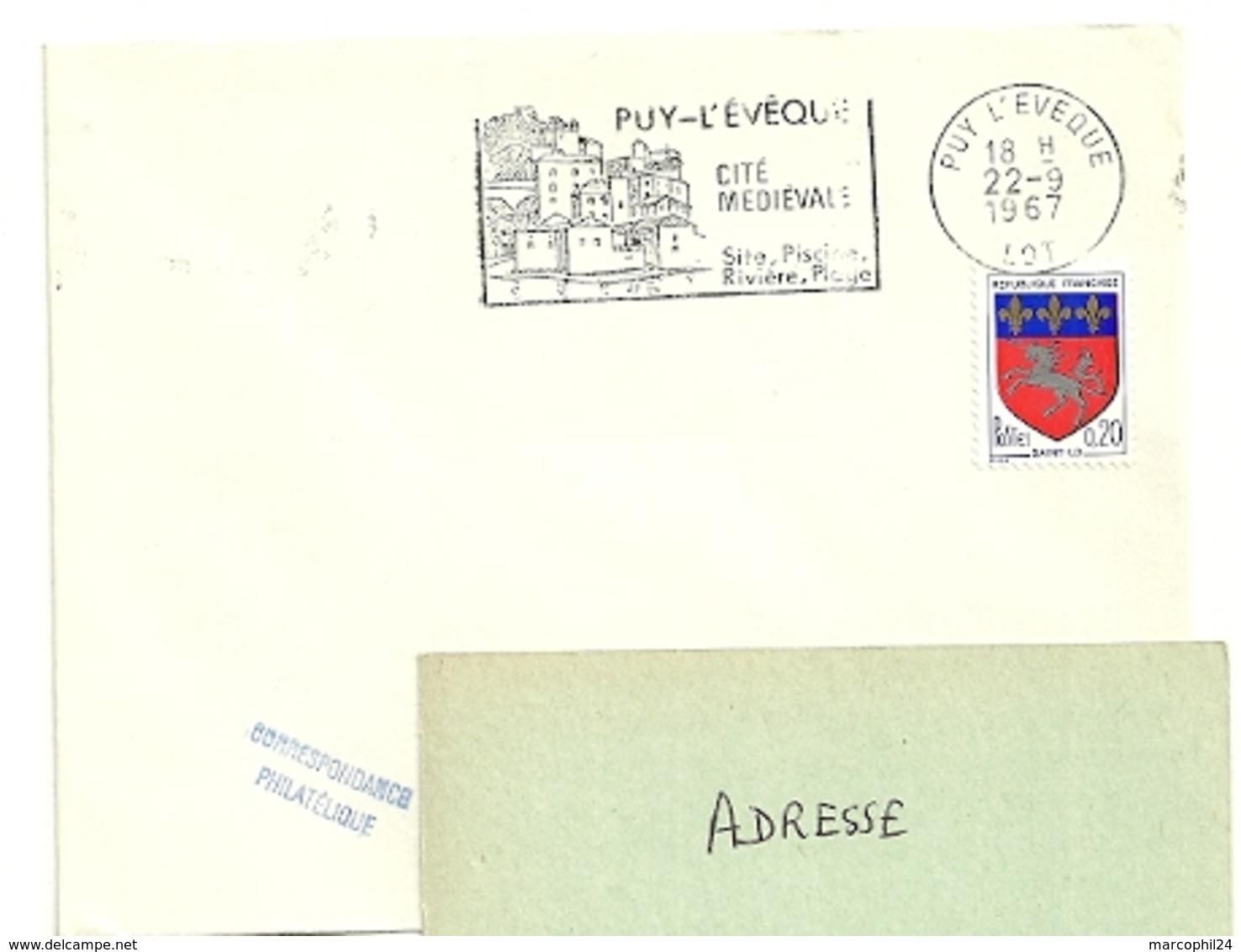 LOT - Dépt N° 46 = PUY L' EVEQUE 1967 = FLAMME SUPERBE Non Codée = SECAP  Illustrée 'Cité Médiévale / Sites - Piscine ' - Marcophilie (Lettres)