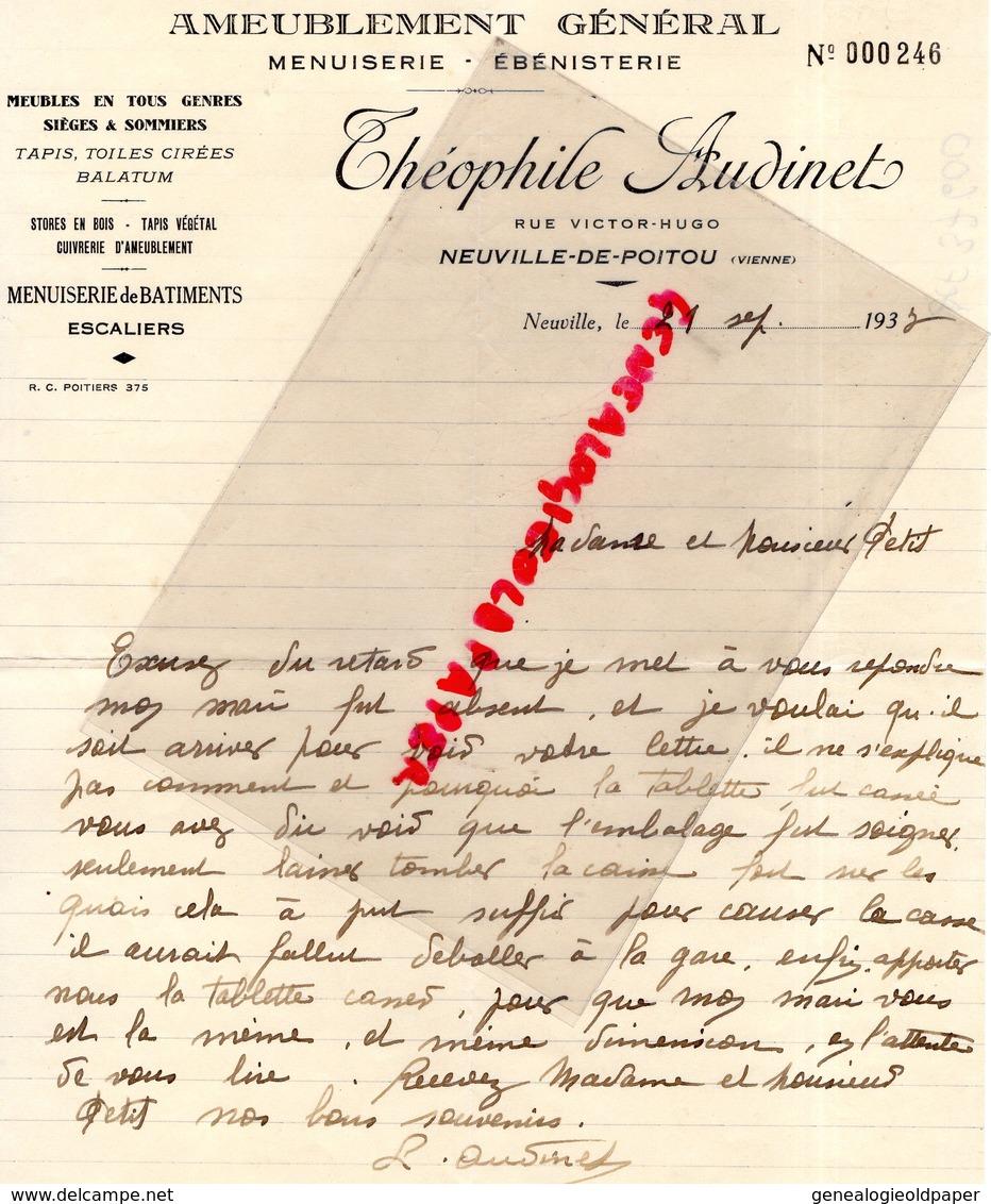 86- NEUVILLE DE POITOU- LETTRE MANUSCRITE SIGNEE THEOPHILE AUDINET-MENUISERIE EBENISTERIE-RUE VICTOR HUGO-1937 - Old Professions