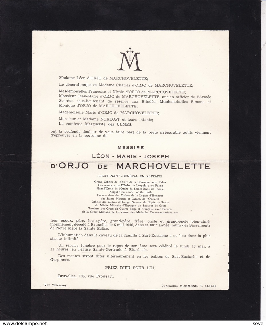 ETTERBEEK Lieutenant-général Léon D'ORJO De MARCHOVELETTE 88 Ans 1946 - Overlijden