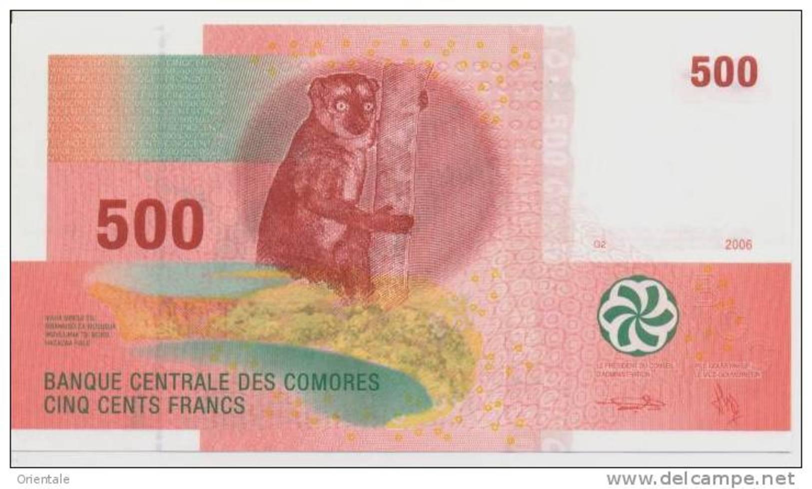 COMOROS P. 15b 500 F 2012 UNC - Comores