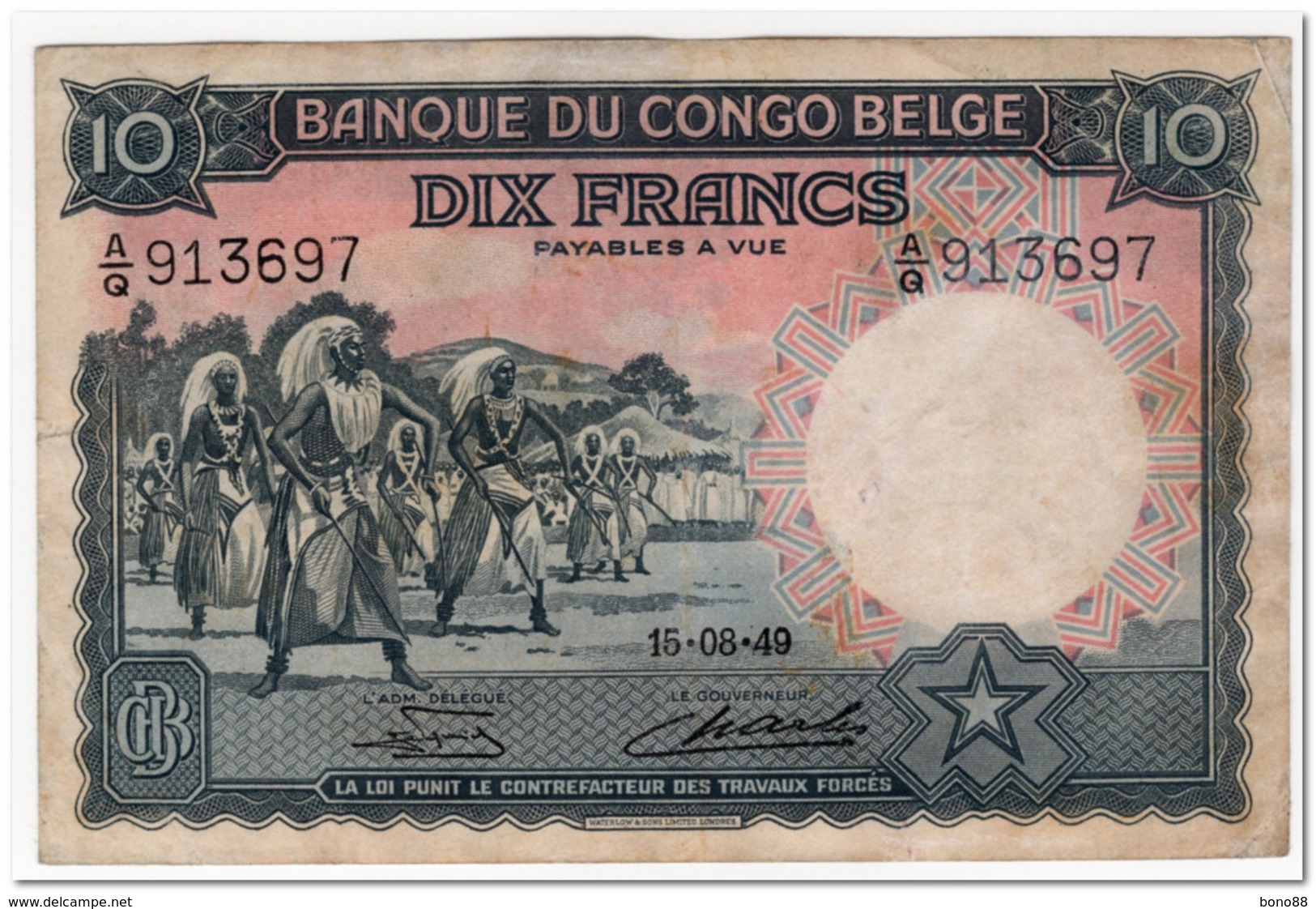 BELGIAN CONGO,10 FRANCS,1949,P.14,VF-XF - Congo